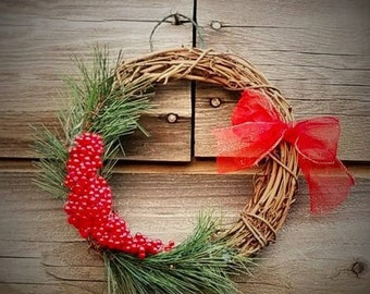 8 inch Grapevine Red Berry Christmas Wreath!!!
