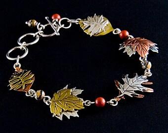 Leaves of Autumn Sterling Silver Bracelet