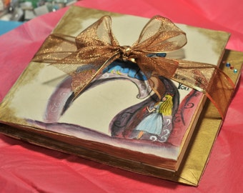Alice in Wonderland Wedding Guest Book w/ Tea Stained Paper 9 by 10 inches