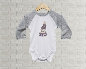 New Hampshire Baby Onesie | Romper Vintage License Plate Art | New Hampshire State Outline Art | Baby Gift | New Hampshire Baby Bodysuit
