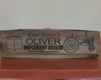 Personalized Oliver tractor crate, laser engraved, gift, wedding, vintage inspired, decor, mancave