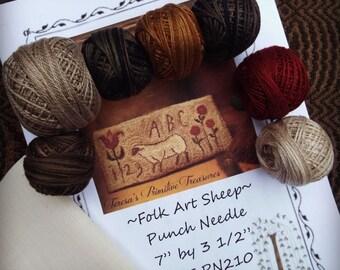Folk Art Sheep Punch Needle Pattern Weavers Cloth Valdani Threads