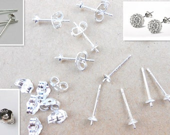 5 pairs Sterling Silver Ear Pins for Stud Earrings, Earring posts, Sterling Silver Earrings Posts, USA Seller C205 C206