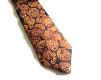 Vintage Halloween Necktie Carved Pumpkins  Museum Artifacts