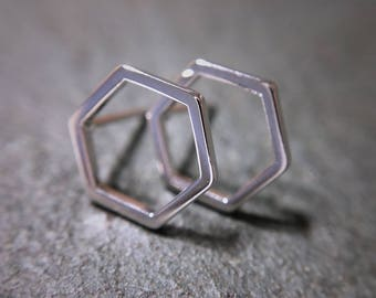 Gold or silver geometric hexagon stud earrings
