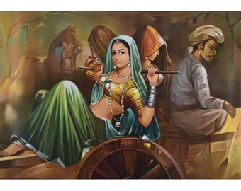 Rajasthan Village Painting Print Poster With Texture Coating Without Frame (25 X 36 Inches)