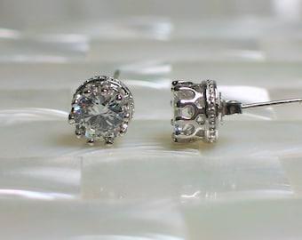 Stud/Post Earrings Silver Earrings 6mm 4 Carat CZ earrings Faux Diamond Silver Plated Brass Stud Earrings Jewelry Jewellery Gift for Her