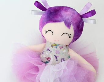 Handmade Ragdoll Cloth Doll First Birthday Gift for Girls Fabric Doll Ballerina Doll with Tutu Toddler Toys Mermaid Theme Purple Nursery