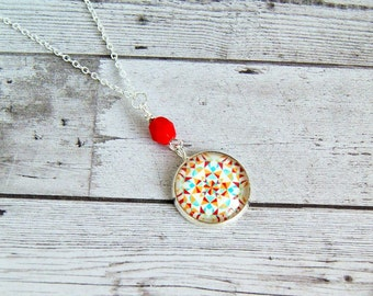 quilted colorful necklace, pendant necklace, photo jewelry, gift for her, under 20
