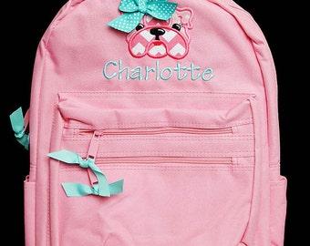 Bulldog Backpack, Girls Personalized Backpack, Monogrammed Backpack, Personalized Bulldog Backpack, Custom Backpack, Mongrammed Girls School