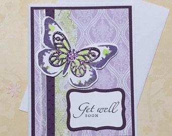Get well card, greeting card, handmade card, purple, occasion card
