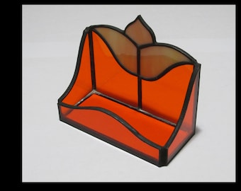 Stained Glass Business Card Holder Orange