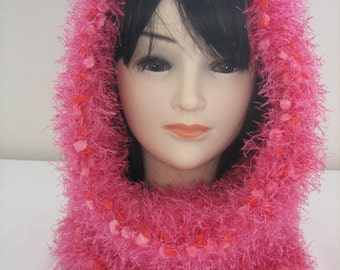 Collar snood hood 3 in 1 wool fancy fuschia and Red