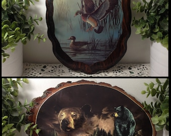 Vintage Wood Duck Plaque or Bear Bark Tree Slice Plaque. Mid Century Lake House, Cabin, or Lodge wall decor.