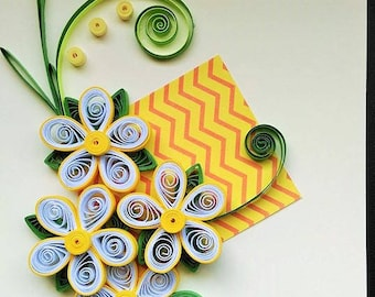 Quilled Flower Card/ Handmade Greeting Card