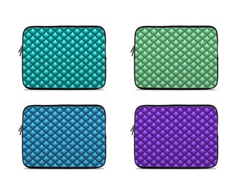 Mermaid scale laptop sleeve, laptop case, laptop cover, to fit 10, 13, 15, 17 inch turquoise, green, purple, blue laptop sleeves, fish scale