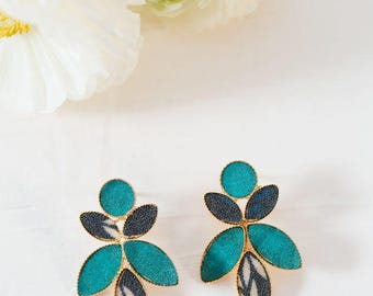 Gold Drop Earrings, Leaf Earrings, Blue Earrings, Floral Earrings, Bohemian Jewelry, Stud Earrings, Statement Earrings, Gifts For Women