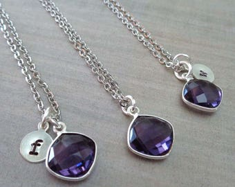 Silver Amethyst Necklace / Amethyst Cushion / February Birthstone / Purple Stone Initial / Purple Wedding Bridesmaid 6yr Anniversary//BE35