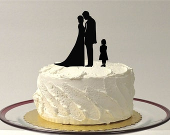 MADE In USA, With Girl Child Wedding Cake Topper Bride + Groom + Child Girl, Silhouette Wedding Cake Topper, Cake Topper Daughter Child