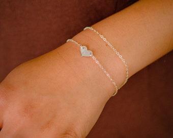 Silver Heart Initial Bracelet - Tiny little Monogram Heart - Dainty Sterling Silver Bracelet