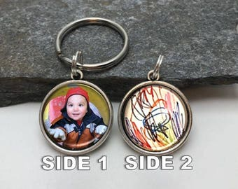 Two-sided key chain, personalized key chain, Handwriting key chain, Your Child's Art Key Chain, photo key chain, picture key chain