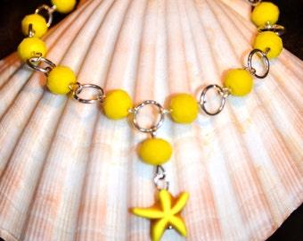 Lemon Yellow Starfish Anklet