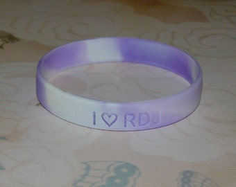 I (Heart) RDJ (Robert Downey Jr) Lavender and White Swirl Silicone Bracelet
