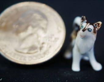 Husky Standing: Fairy garden, miniature garden, fairy garden accessories, ceramic, miniature animal