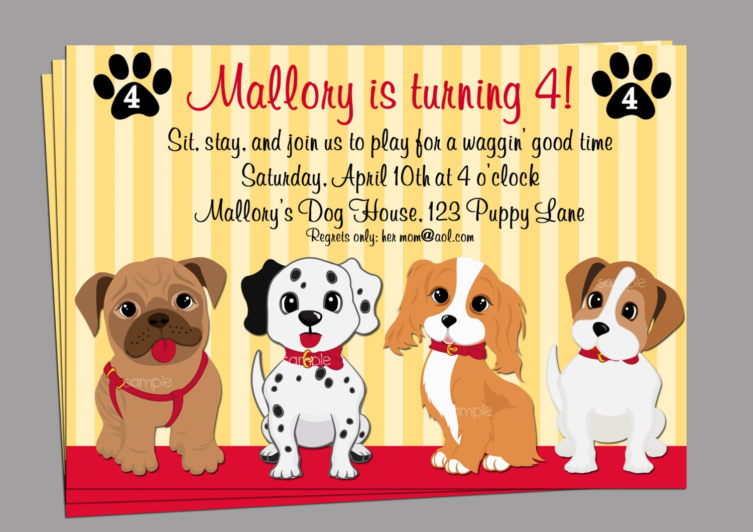 Puppy Dog Invitation Printable Or Printed With FREE SHIPPING - Dog party invitations template