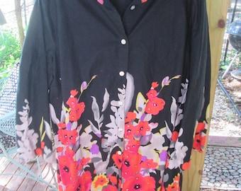 Vintage black cotton plus size long front button blouse, tunic or short dress. Vibrant colors lightly sequined black cotton XL women's top
