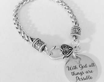 Christian With God All Things Are Possible Bible Scripture Charm Bracelet