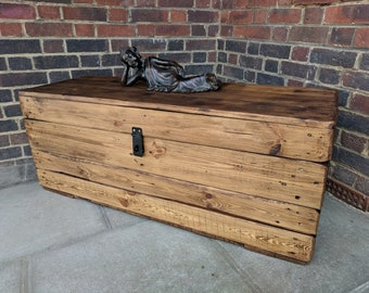 Made to Order Rustic Clamshell Wooden Trunk Handmade from Reclaimed Wood