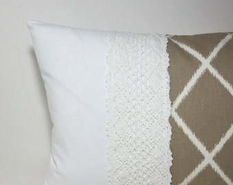 Colorblock pillow cover.  Winter white and tan pillow cover cream lace ~ modern cottage chic. khaki tan and cream cotton lace pillows