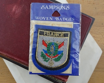 Vintage France Patch, Souvenir Felt Sew on Patch, Embroidered Badge New in Packet
