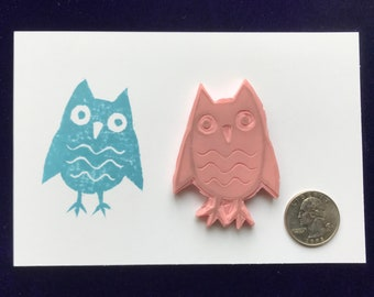 Owl stamp, rubber stamp, hand carved stamp, unmounted stamp