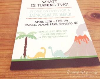 PRINTED  Dinosaur Volcano Birthday Invitations, set of 25