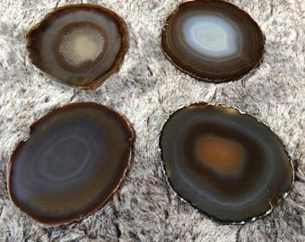Natural Caramel Agate Microcrystalline Quartz Premium Coasters (set of 4) Gift