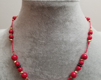 Cristina Bright Red Beaded Necklace