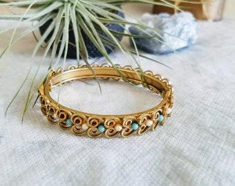 Gold Filled Bangle Bracelet, Vintage Gold Filigree Bracelet, Vintage Victorian Bangle Bracelet, Victorian Revival Bracelets, Filigree Bangle