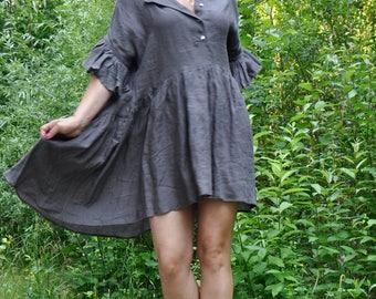 Gray LINEN short dress/Linen casual dress/Loose tunic/Woman linen hooded dress/Gray extravagant tunic/Handmade dress/Summer dress/D0316