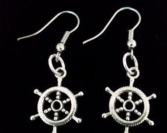 Nautical pirates ship wheel dangle hook coil earrings