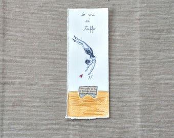 Bookmark - booklover - books - illustration on paper - giadafloris - reader gift - diving books