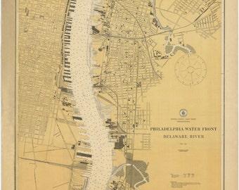 Philadelphia Waterfront & Delaware River Historical Map 1879