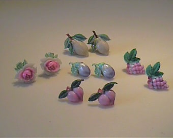 Vintage celluloid made into pierced stud earrings on surgical steel