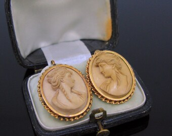 Antique Victorian Lava Cameo earrings, 18kt gold, circa 1880