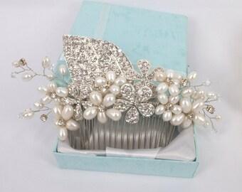 Anya -Freshwater pearl and Rhinestone Bridal Comb