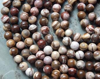 10mm Brown Zebra Jasper Polished Round Gemstone Beads, Half Strand (IND1C525)