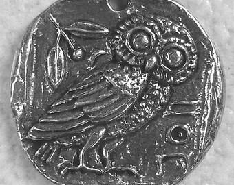 Green Girl Studios Pewter Owl Coin Pendant