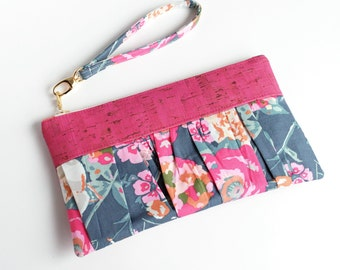 Ruffled Wristlet, Clutch, Purse, Pouch, Fuschia, Cork, Gifts for Her, Date Night, Spring, Floral, Bridesmaid