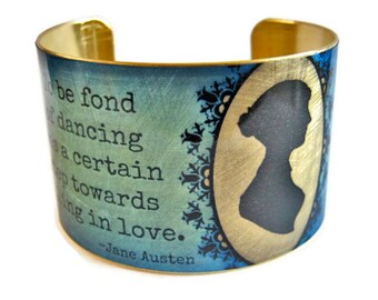 Jane Austen brass cuff bracelet Pride and Prejudice Quote jewelry Free Shipping to USA Gifts for her
